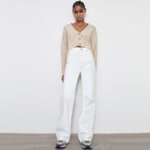 NWT Zara cream knit floral sequin short cardigan L